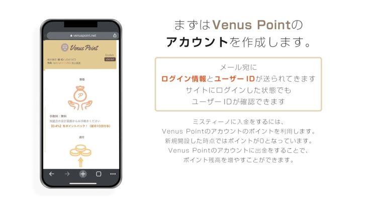 【ミスティーノ公式】Venus Point(ヴィーナスポイント)を使った入金方法
